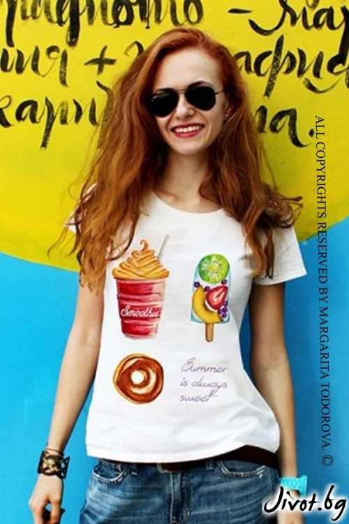 "Дамска тениска ""Summer is sweet"" / LovelyBones Clothing"