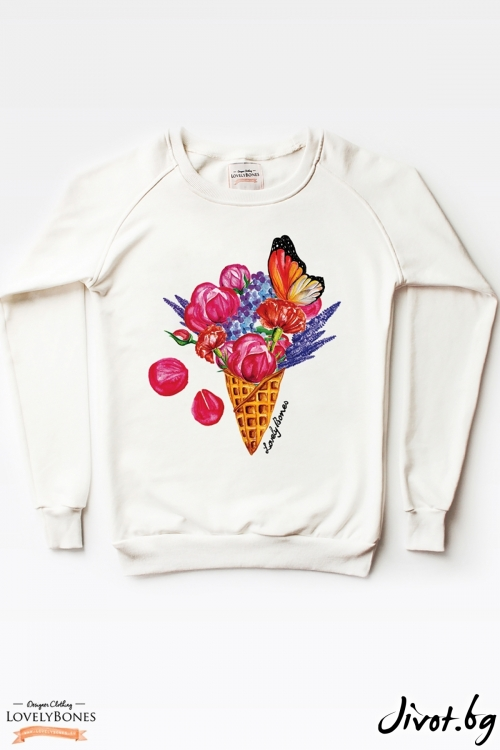 "Дамски суичър ""A Flowers Ice Cream"" / LovelyBones Clothing"