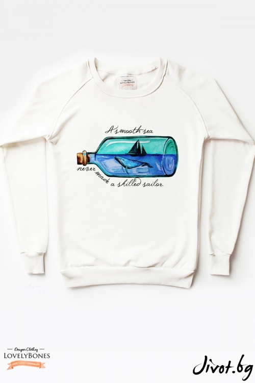 "Дамски суичър""""A smooth sea...."" "" / LovelyBones Clothing"