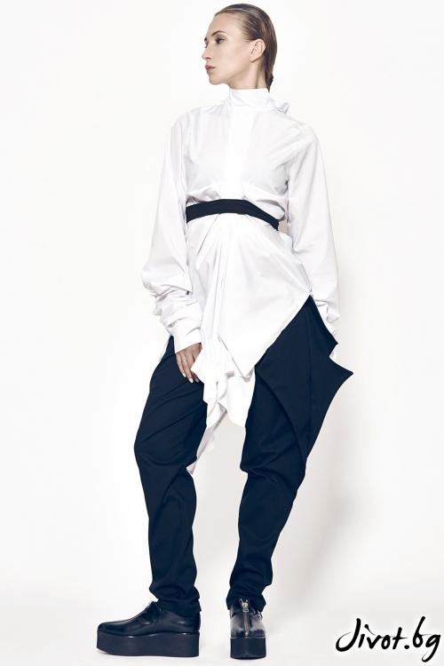 Дамски черен асиметричен панталон MARIA QUEEN MARIA