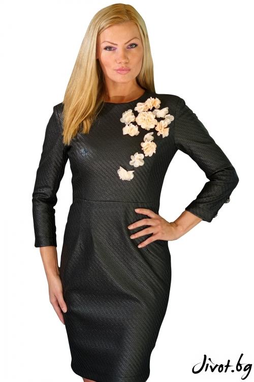 """Черна кожена рокля """"Секси Шик"""" / Fenice and Julia"""