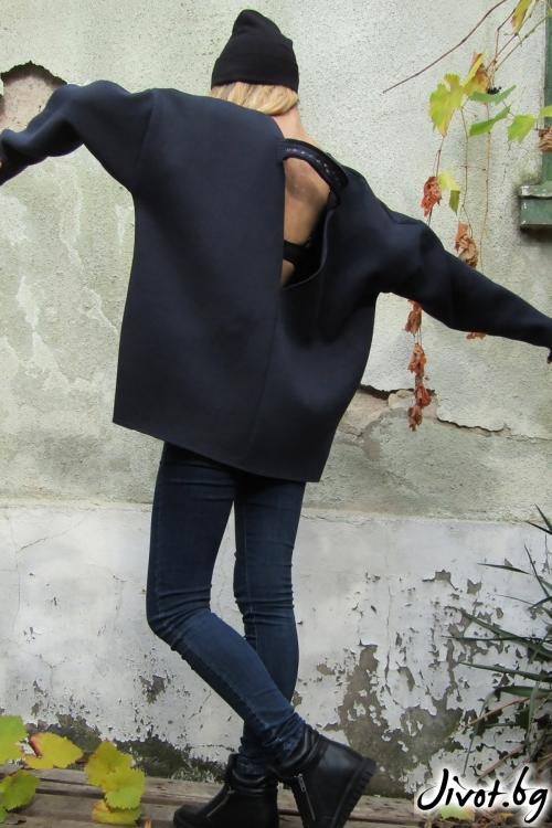 Дамска блуза с V- образно деколте гръб Navy blue / FABRA MODA STUDIO