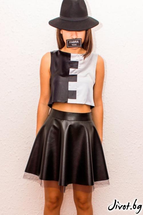 Разкроена пола с висока талия от перфорирана еко кожа и тюл / FABRA MODA STUDIO