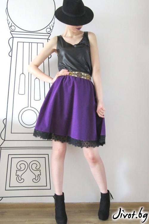 Разкроена пола с висока та- лия от перфорирана еко кожа и тюл/FABRA MODA STUDIO