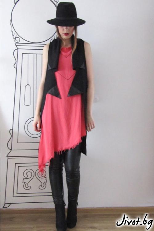 Асиметричен дамски елек със шал яка / FABRA MODA STUDIO