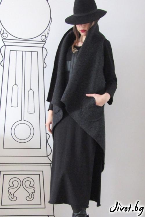 Екстравагантен асиметричен елек с шал яка/FABRA MODA STUDIO