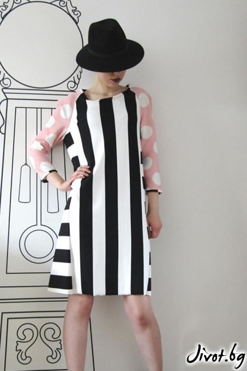 Къса рокля с ръкави и клинове в комбинация от точки и райета / FABRA MODA STUDIO