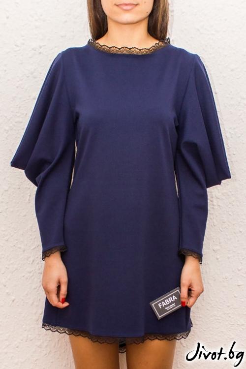 Екстравагантна рокля с деконструирани ръкави и дантела / FABRA MODA STUDIO