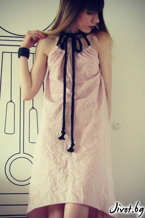 Асиметрична рокля с връзки Dusky pink / FABRA MODA STUDIO