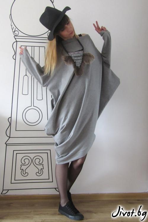Асиметрична сива рокля с паднало рамо/FABRA MODA STUDIO
