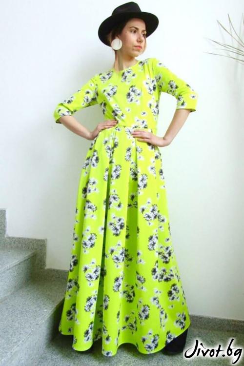 Макси рокля с флорален принт/FABRA MODA STUDIO