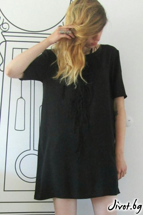 Черен long fit тишърт/ FABRA MODA STUDIO