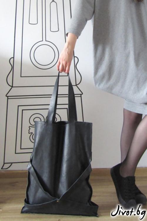 Черна tote чанта от естествена кожа / FABRA MODA STUDIO