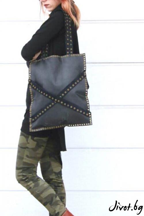 Черна текстурирана tote чанта от естествена кожа с метални капси / FABRA MODA STUDIO