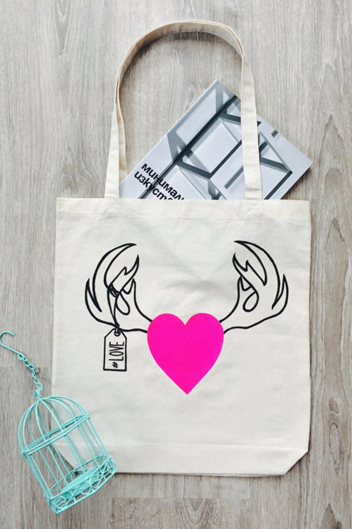 Хендмейд еко торба със закачлив принт/FABRA MODA STUDIO