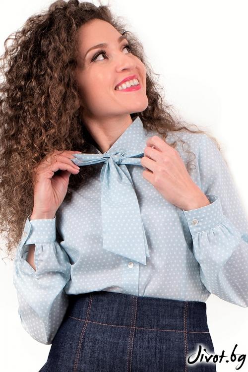 """Риза от органик памук """"Снежни точици"""" / Амплоа Ателиер"""