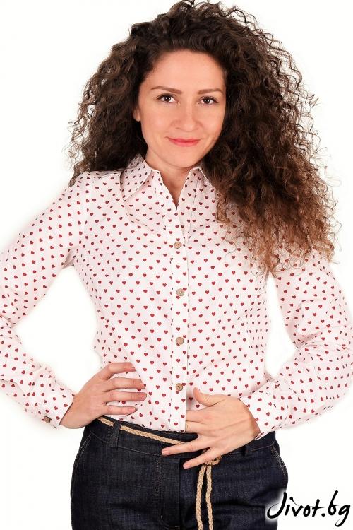 """Риза от органик памук """"Горещи сърца"""" / Амплоа Ателиер"""