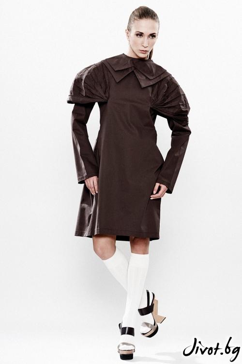 Шоколадово кафява ленена асиметрична рокля / Maria Queen Maria