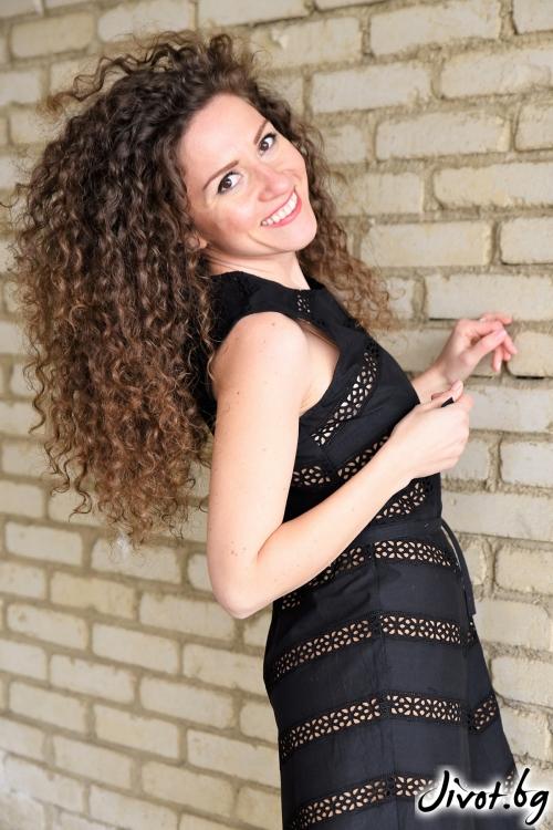 Черна рокля с ленти от дантела / Амплоа Ателиер