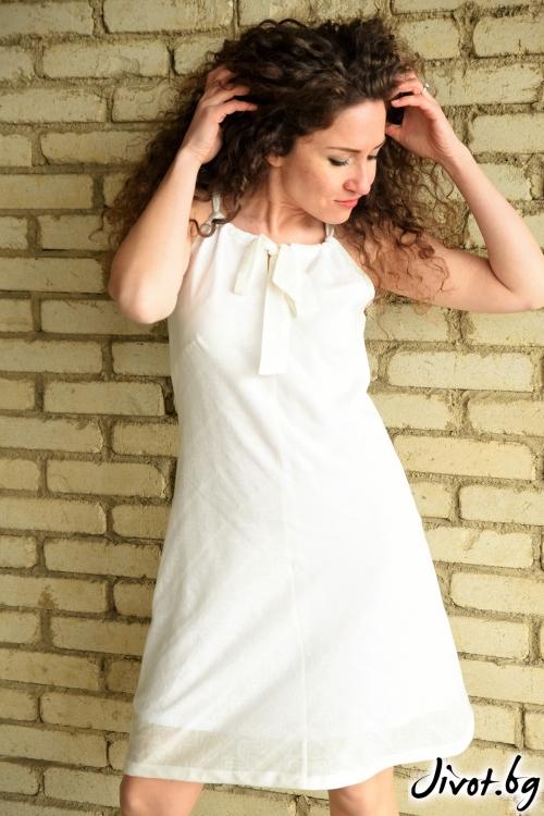 Бяла рокля с финна дантела / Амплоа Ателиер