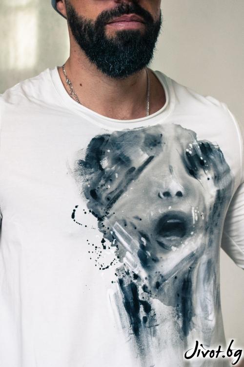 """Ръчно рисувана мъжка блуза """"Жажда за внимание"""" / EGO Te Provoco"""