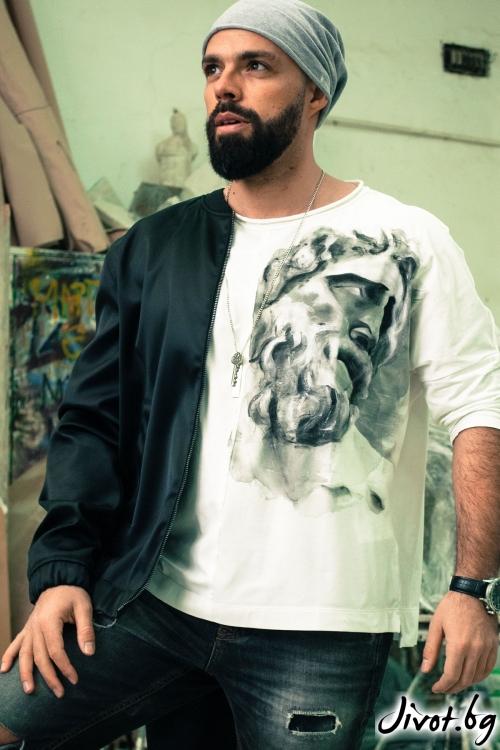 """Ръчно рисувана мъжка блуза """"Зевс"""" / EGO Te Provoco"""