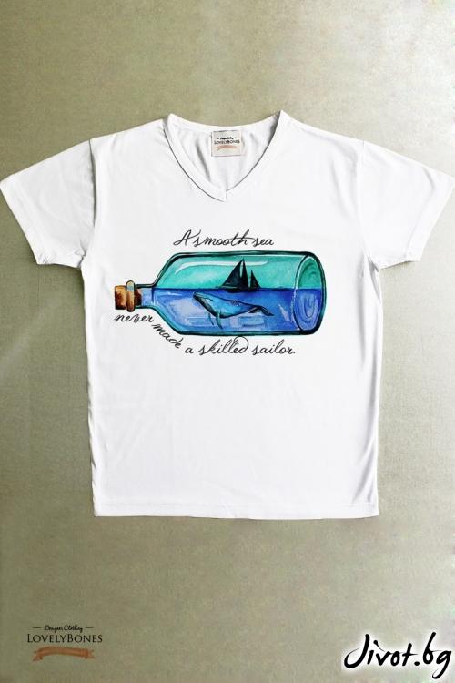 """Мъжка тениска """"A smooth sea..."""" / LovelyBones Clothing"""