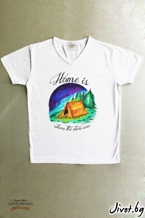 "Мъжка тениска ""Home is where the stars are"" / LovelyBones Clothing"