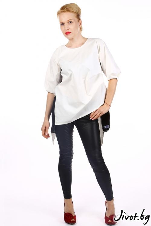 Бяла дамска риза с черни кантове / Handmade by Monkey Fiction