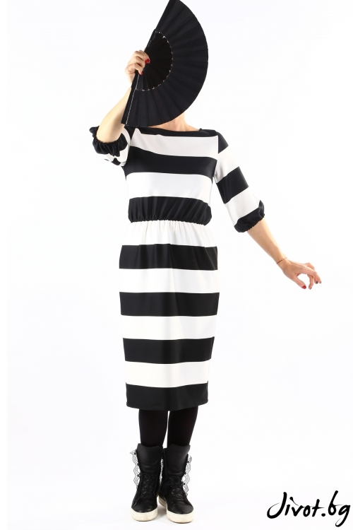 Красива дамска рокля на едро райе / VЯRA за MUSE SHOP
