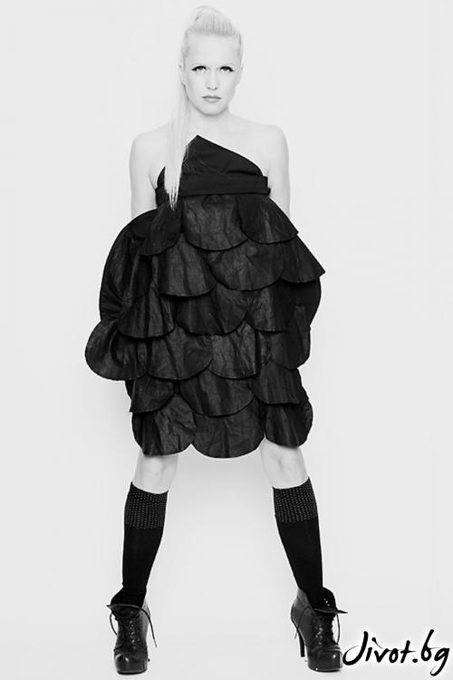 Черна памучна рокля / пола / Maria Queen Maria