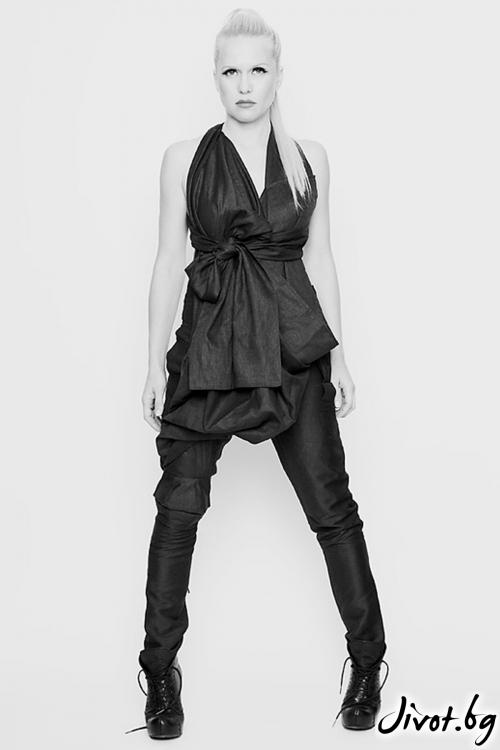 Сив ленен панталон / гащеризон с наколенки / Maria Queen Maria