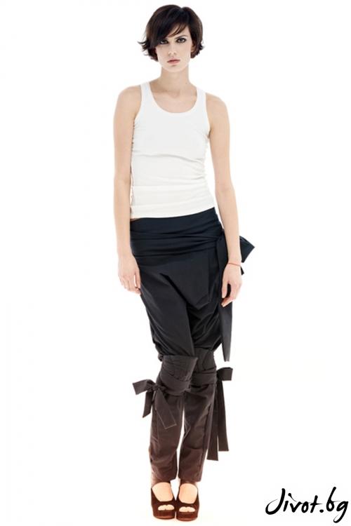 Сив памучен панталон с наколенки и колан / Maria Queen Maria