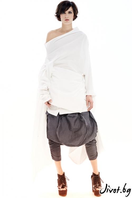 Сив памучен панталон с ниско дъно / Maria Queen Maria