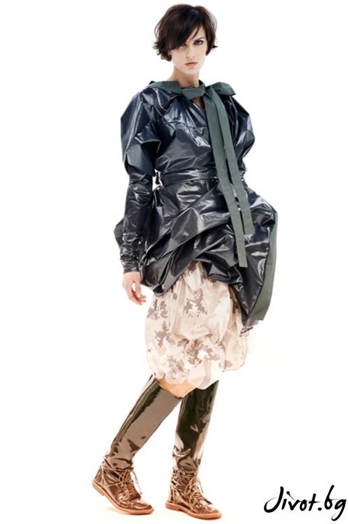 Бежова полиестерна асиметрична пола / Maria Queen Maria