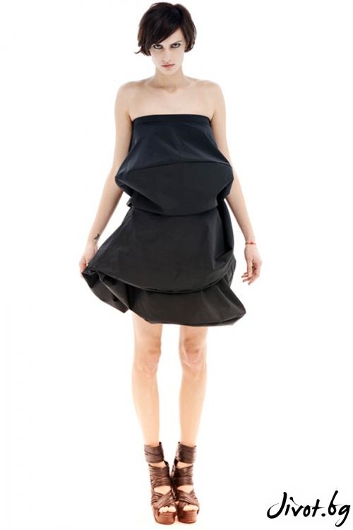 Черна полиестерна триъгълна рокля / Maria Queen Maria