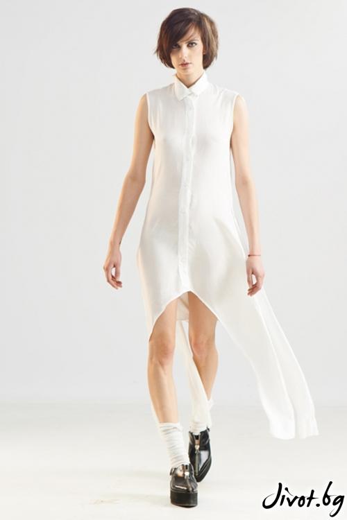 Бяла памучна асиметрична риза / Maria Queen Maria
