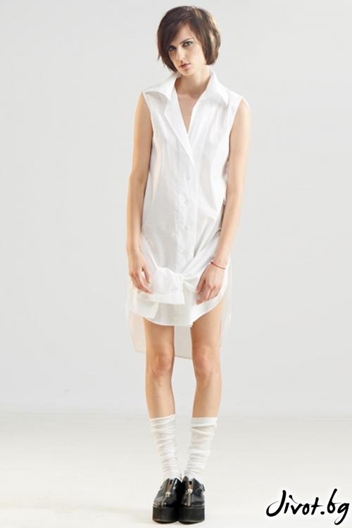 Бяла памучна риза с къс ръкав / Maria Queen Maria