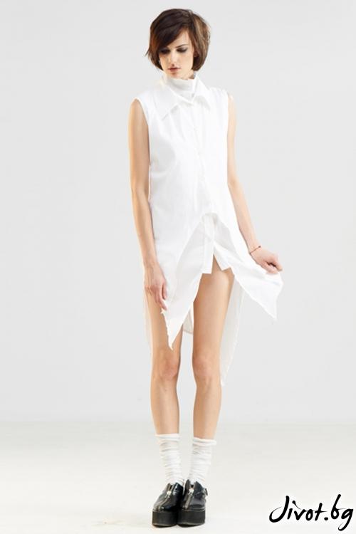 Бяла асиметрична риза с къс ръкав от две части / Maria Queen Maria
