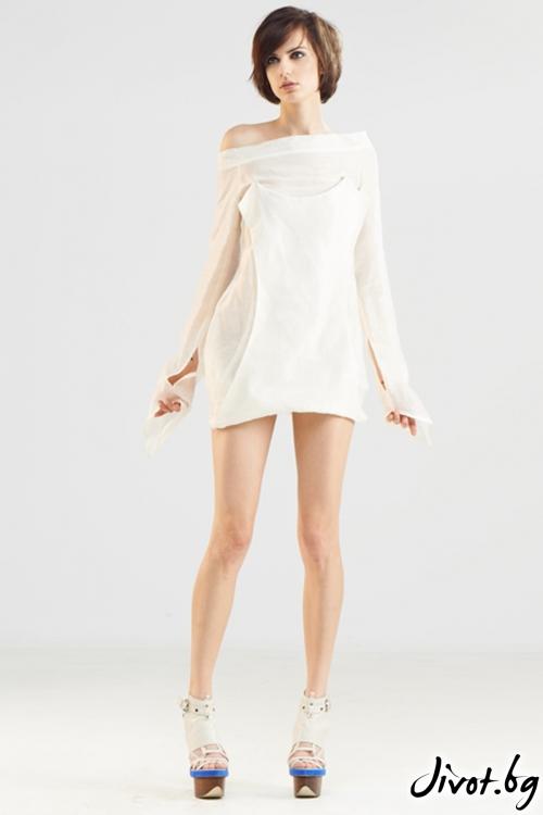 Бяла асиметрична копринена риза / Maria Queen Maria
