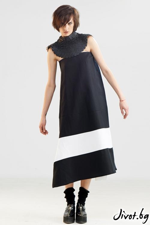 Черна пола / рокля с бял детайл и колан / Maria Queen Maria