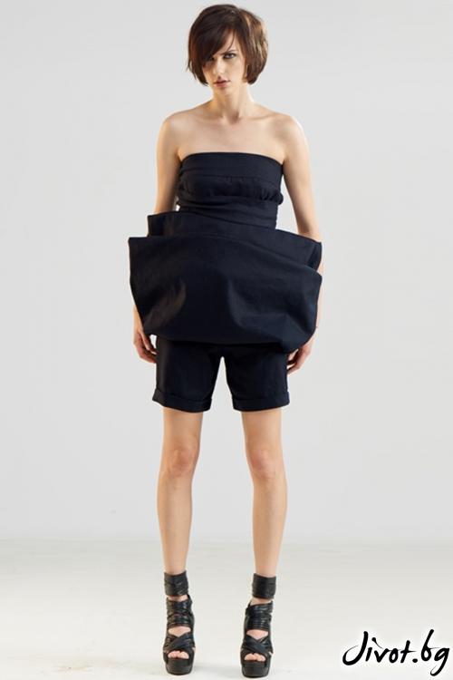 Тъмносин ленен гащеризон с къси панталонки / Maria Queen Maria