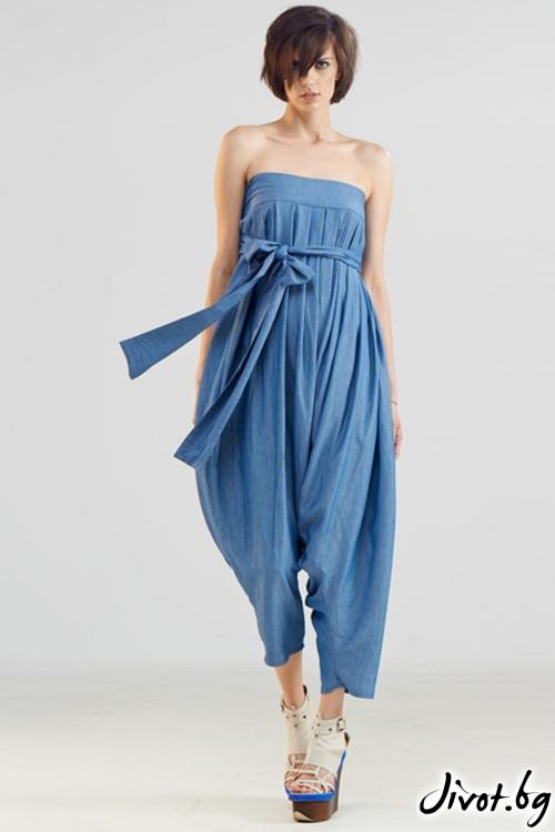 Дънков светлосин свободен гащеризон / панталон / Maria Queen Maria