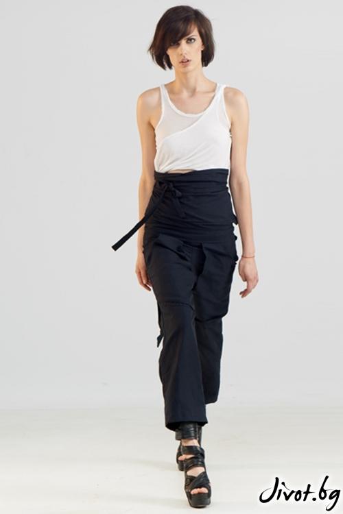 Тъмносин памучен панталон с широк колан / Maria Queen Maria