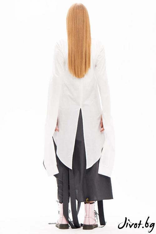 Невероятна деконструктивна бяла риза със свръхдълги ръкави / Maria Queen Maria