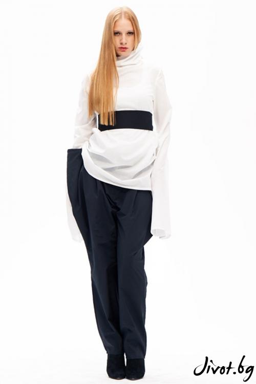 Черен, деконструктивен панталон с висока талия / Maria Queen Maria