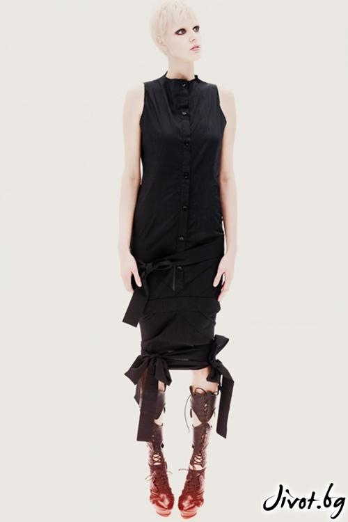 Черна памучна дълга туника / рокля с много връзки / Maria Queen Maria