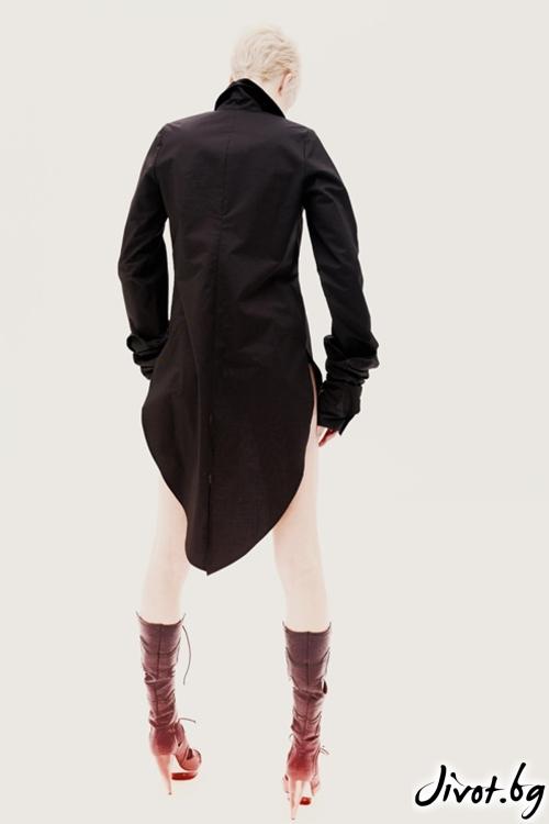 Черна памучна риза с дълги ръкави и подвижна яка / Maria Queen Maria
