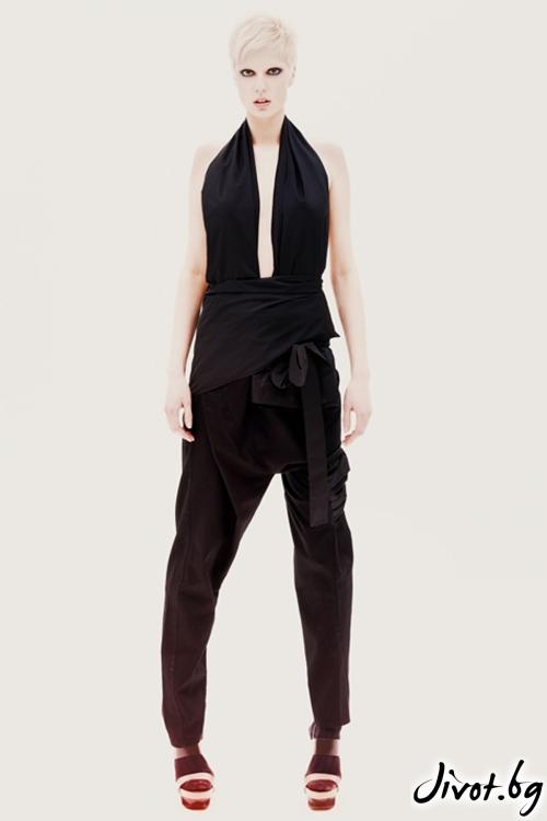 Черен памучен / полиестерен панталон / гащеризон / Maria Queen Maria