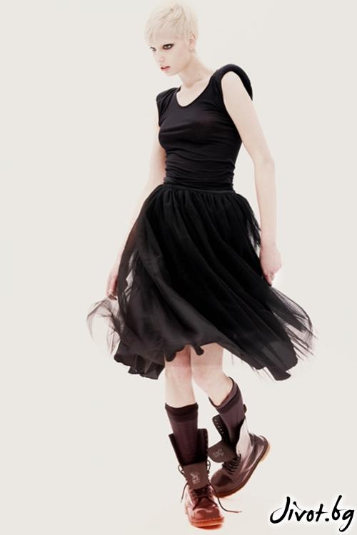 "Черна полиестерна пола стил ""Баларина"" / Maria Queen Maria"